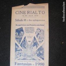 Cine: FANTASIAS DE 1980-CINE RIALTO-PROGRAMA DE CINE-VER FOTOS-(K-4162). Lote 289010548