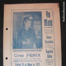 Cine: YO MATE-CINE FENIX-AÑO 1928-PROGRAMA DE CINE-VER FOTOS-(K-4166). Lote 289010948