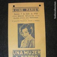 Cine: UNA MUJER A BORDO-CINE PARIS-AÑO 1932-PROGRAMA DE CINE-VER FOTOS-(K-4167). Lote 289011003