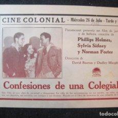Cine: CONFESIONES DE UNA COLEGIALA-CINE COLONIAL-AÑO 1933-PROGRAMA DE CINE-VER FOTOS-(K-4171). Lote 289011373
