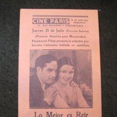 Cine: LO MEJOR ES REIR-CINE PARIS-PROGRAMA DE CINE-VER FOTOS-(K-4173). Lote 289011573