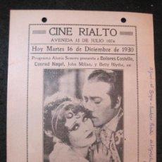 Cine: LA GLORIA DE UN AMOR-CINE RIALTO-AÑO 1930-PROGRAMA DE CINE-VER FOTOS-(K-4174). Lote 289011623