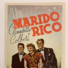 Cine: UN MARIDO RICO - DOBLE - CLAUDETTE COLBERT - CON PUBLICIDAD. Lote 289196528
