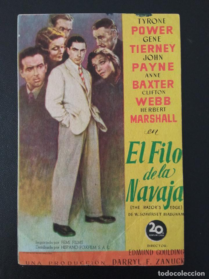 EL FILO DE LA NAVAJA, TYRONE POWER, CINEMA RIVERO DE LA CALZADA, GIJÓN, ASTURIAS (Cine - Folletos de Mano - Drama)