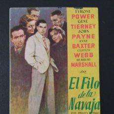 Cine: EL FILO DE LA NAVAJA, TYRONE POWER, CINEMA RIVERO DE LA CALZADA, GIJÓN, ASTURIAS. Lote 289199998