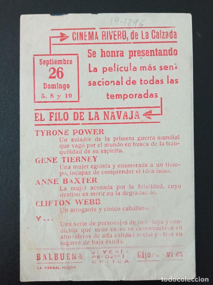 Cine: EL FILO DE LA NAVAJA, TYRONE POWER, CINEMA RIVERO DE LA CALZADA, GIJÓN, ASTURIAS - Foto 2 - 289199998