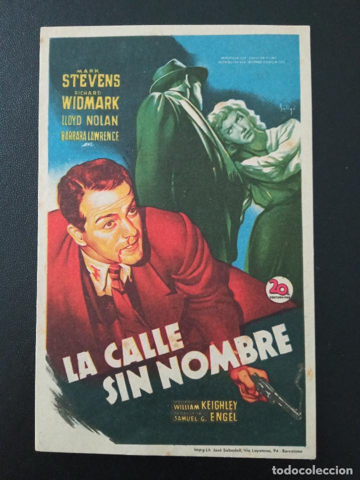 LA CALLE SIN NOMBRE, RICHARD WIDMARK, ATENEO CULTURAL DE SAN MARTIN DE TOUS, BARCELONA, 1950 (Cine - Folletos de Mano - Drama)