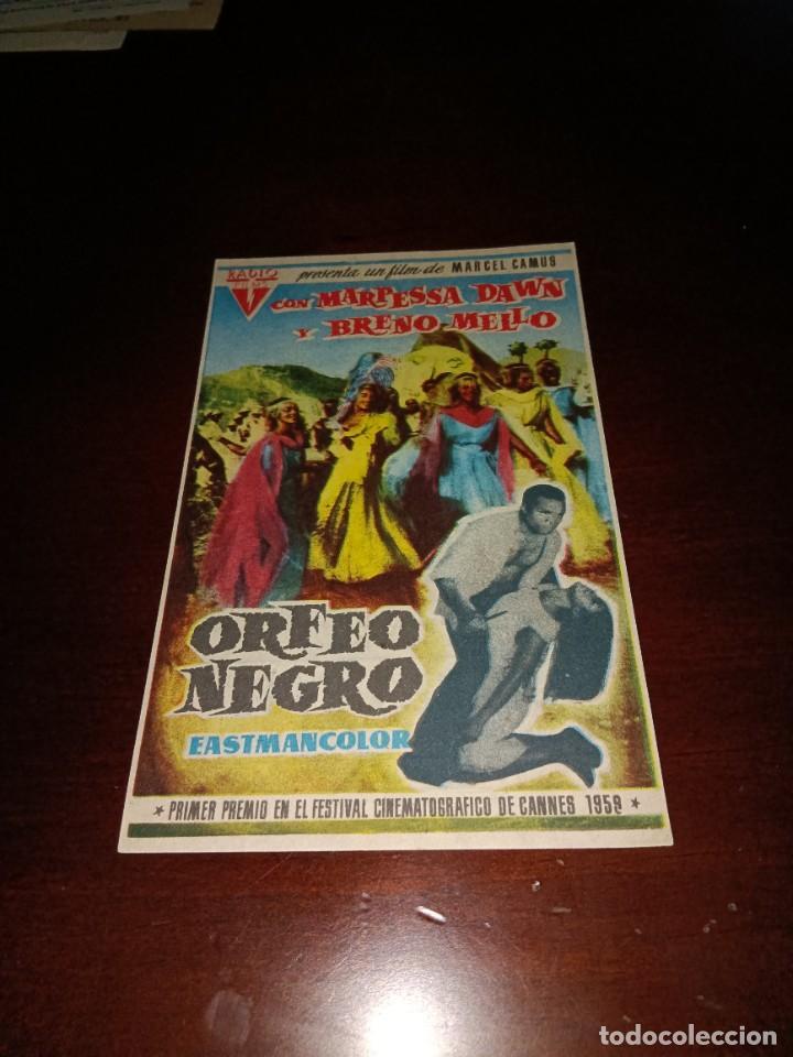 PROGRAMA DE MANO ORIG - ORFEO NEGRO - CON CINE DE VALLS IMPRESO AL DORSO (Cine - Folletos de Mano - Drama)