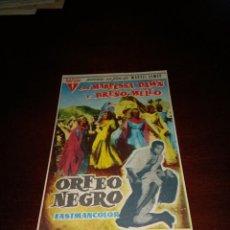 Cine: PROGRAMA DE MANO ORIG - ORFEO NEGRO - CON CINE DE VALLS IMPRESO AL DORSO. Lote 289205023