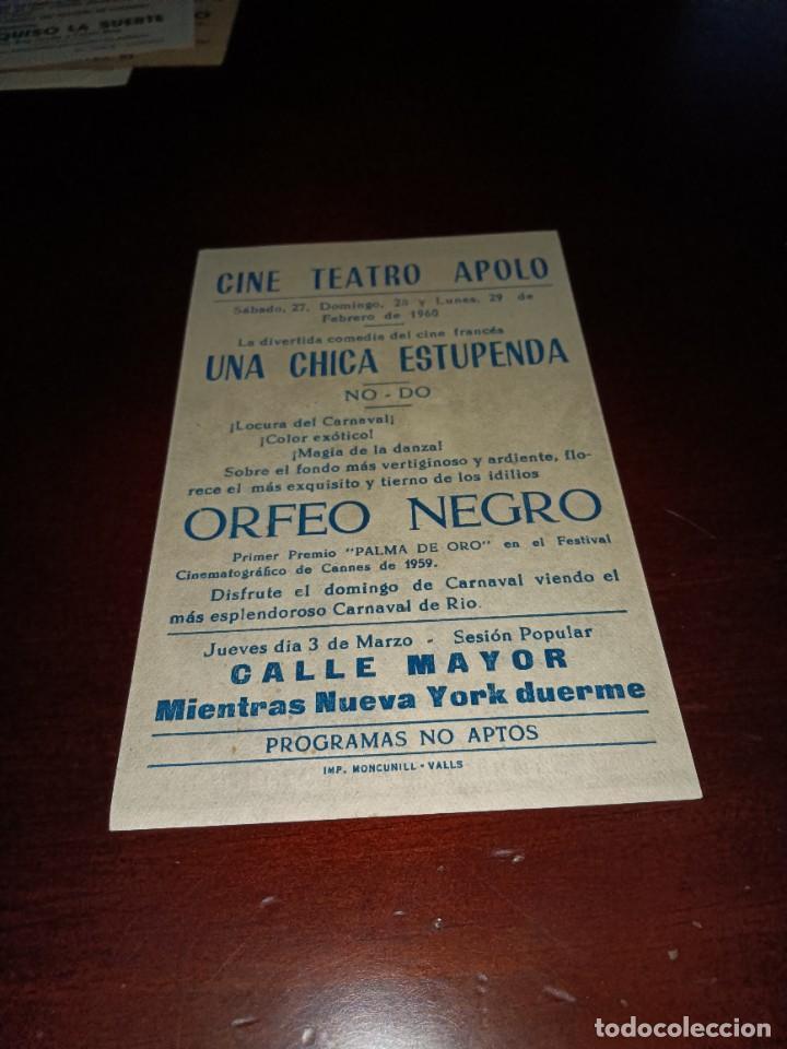 Cine: PROGRAMA DE MANO ORIG - ORFEO NEGRO - CON CINE DE VALLS IMPRESO AL DORSO - Foto 2 - 289205023
