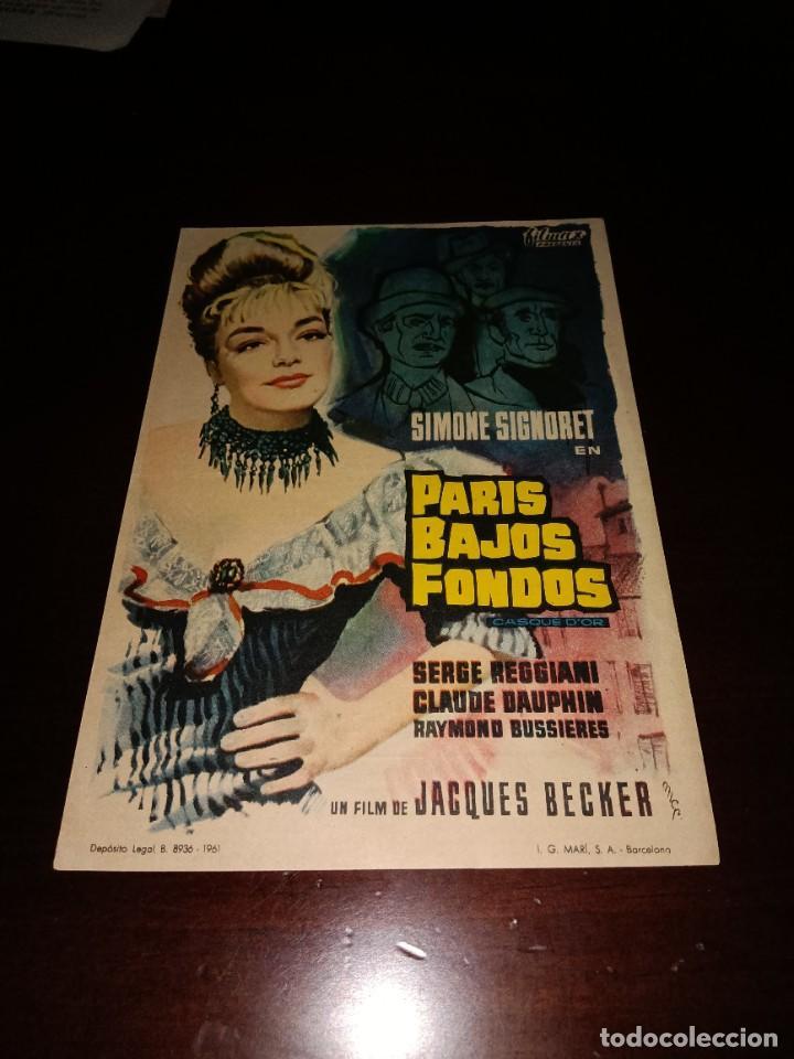 PROGRAMA DE MANO ORIG - PARIS , BAJOS FONDOS - CON CINE DE SALAMANCA IMPRESO AL DORSO (Cine - Folletos de Mano - Drama)