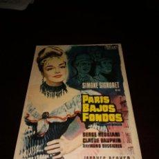 Cine: PROGRAMA DE MANO ORIG - PARIS , BAJOS FONDOS - CON CINE DE SALAMANCA IMPRESO AL DORSO. Lote 289206013