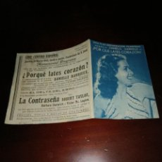 Cine: PROGRAMA DE MANO ORIG - POR QUÉ LATES, CORAZÓN - CON CINE CENTRO ESPAÑOL IMPRESO AL DORSO. Lote 289210088