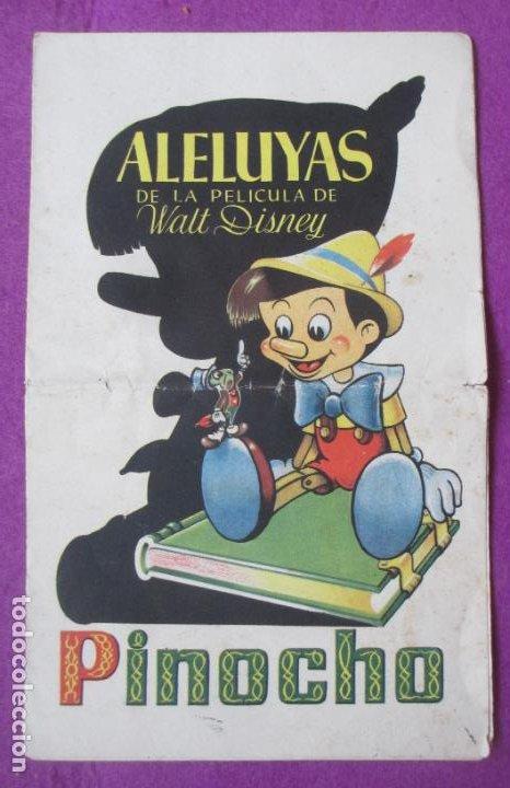 ALELUYAS DE LA PELICULA DE WALT DISNEY PINOCHO (Cine - Folletos de Mano - Infantil)