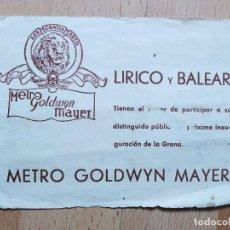Cine: 1-LISTAS DE MATERIAL --DE LA METRO EN EL TEATRO LIRICO BALEAR. Lote 289293078