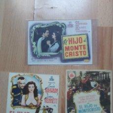 Cine: Z-- PROGRAMAS DE CINE -- EL HIJO DE MONTECRISTO. Lote 289293683