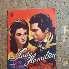 Foglietti di film di film antichi di cinema: FOLLETO DE MANO DOBLE DE LA PELICULA LADY HAMILTON. Lote 289302428