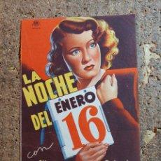 Cine: FOLLETO DE MANO DOBLE DE LA PELICULA LA NOCHE DEL 16 DE ENERO. Lote 289303243