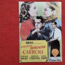 Cine: DOS FOLLETO DE MANO: ANVERSO: LAS DOS SEÑORAS CARROLL. REVERSO: LA COMEDIA SEXUAL UN NOCHE DE VERANO. Lote 289304473