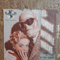 Cine: FOLLETO DE MANO DOBLE DE LA PELICULA EL HOMBRE INVISIBLE VUELVE. Lote 289304703