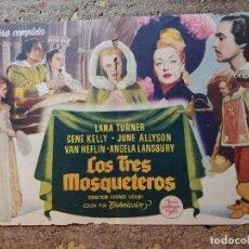 Cine: FOLLETO DE MANO DOBLE DE LA PELICULA LOS TRES MOSQUETEROS. Lote 289304873