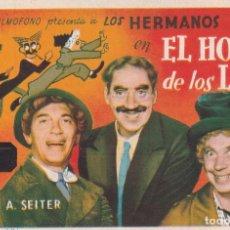 Cine: PROGRAMA DE MANO EL HOTEL DE LOS LIOS. HERMANOS MARX CINEMA GOYA ZARAGOZA. Lote 289315523
