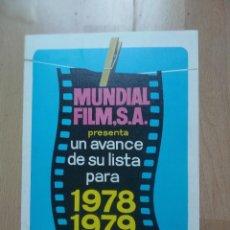 Cine: 1-LISTAS DE MATERIAL -- MUNDIAL FILMS 78/79. Lote 289317333