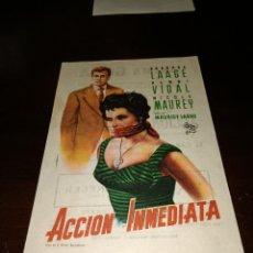 Cine: PROGRAMA DE MANO ORIG - ACCIÓN INMEDIATA - CON CINE DE CASTELLÓN IMPRESO AL DORSO. Lote 289370088