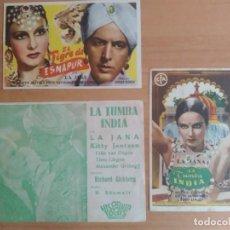 Cine: N1º-LOTE 227-- PROGRAMAS DE CINE--LA TUMBA INDIA. Lote 289454893