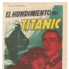 Cine: EL HUNDIMIENTO DEL TITANIC 1955 FIESTA CANDELARIA EDUCACION Y DESCANSO CINE SANTA COLOMA DE QUERALT. Lote 289562243