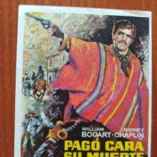 Cine: PAGO CARA SU MUERTE. Lote 289590433
