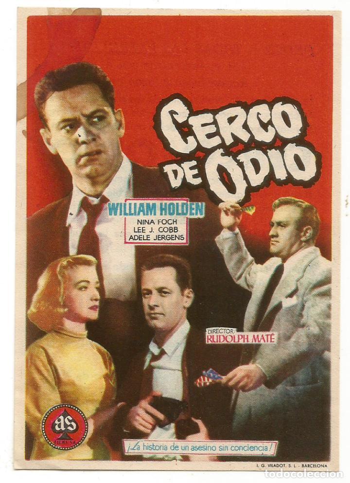 SENCILLO CERCO DE ODIO 1957 EDUCACION Y DESCANSO EMPRESA DE CINE SANTA COLOMA DE QUERALT (Cine - Folletos de Mano - Acción)
