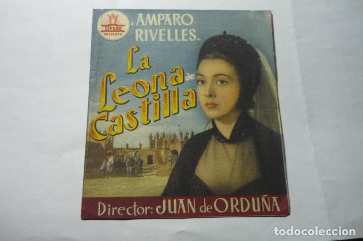 PROGRAMA DOBLE LA LEONA DE CASTILLA -AMPARO RIVELLES PUBLICIDAD (Cine - Folletos de Mano - Clásico Español)