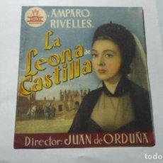 Cine: PROGRAMA DOBLE LA LEONA DE CASTILLA -AMPARO RIVELLES PUBLICIDAD. Lote 289639548