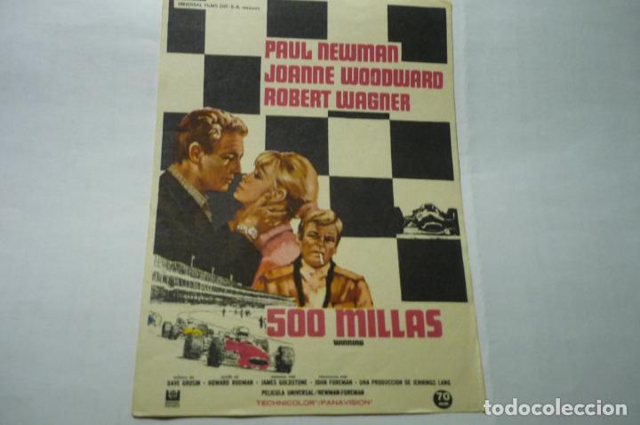 PROGRAMA 500 MILLAS.-PAUL NEWMAN (Cine - Folletos de Mano - Acción)