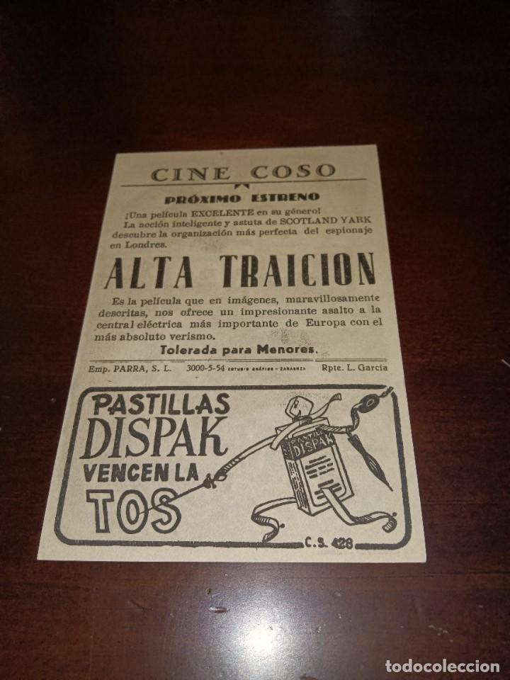 Cine: PROGRAMA DE MANO ORIG - ALTA TRAICIÓN - CON CINE DE ZARAGOZA IMPRESO AL DORSO - Foto 2 - 289681398