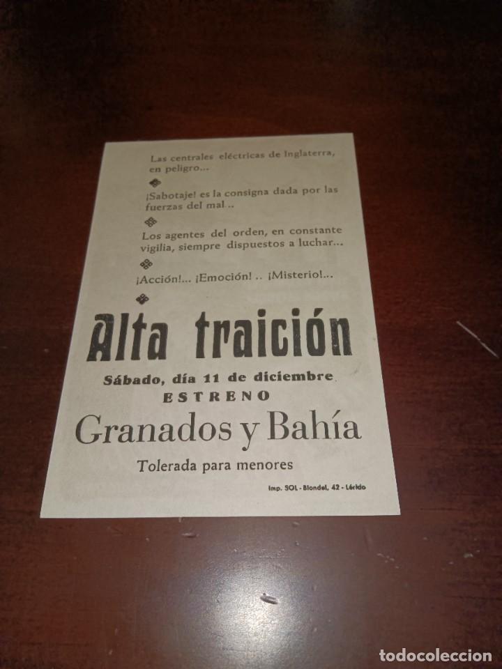 Cine: PROGRAMA DE MANO ORIG - ALTA TRAICIÓN - CON CINE DE LÉRIDA IMPRESO AL DORSO - Foto 2 - 289681683