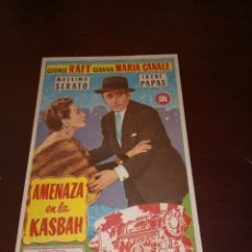 Cine: PROGRAMA DE MANO ORIG - AMENAZA EN LA KASBAH - CON CINE DE ZARAGOZA IMPRESO AL DORSO. Lote 289685293
