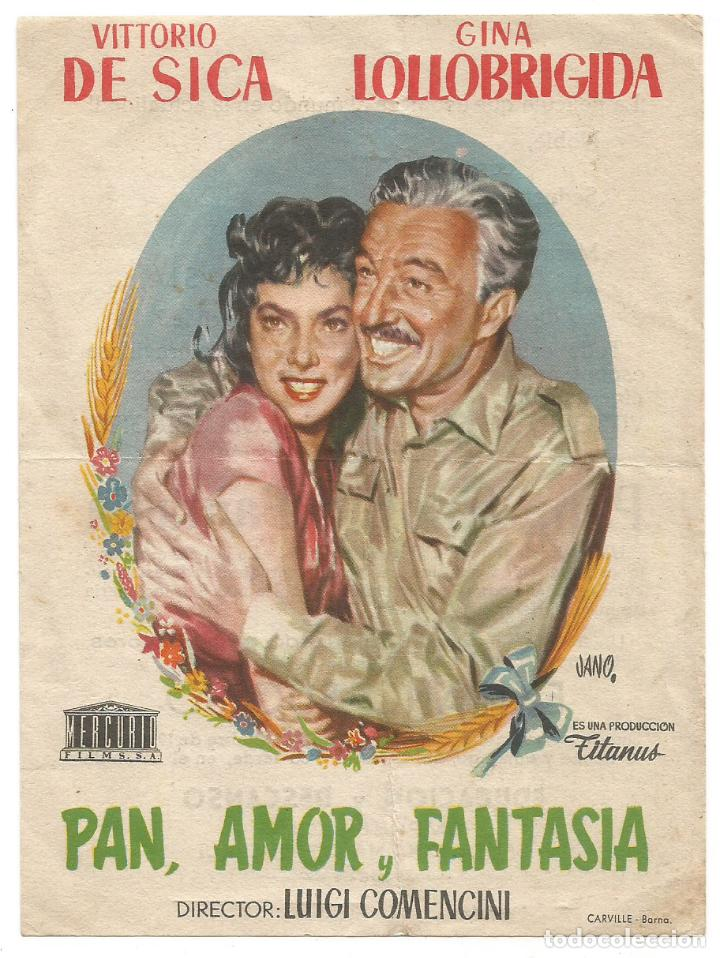 SENCILLO PAN AMOR Y FANTASIA 1956 EMPRESA CINE E Y D SANTA COLOMA DE QUERALT ILUSTRADO JANO (Cine - Folletos de Mano - Comedia)