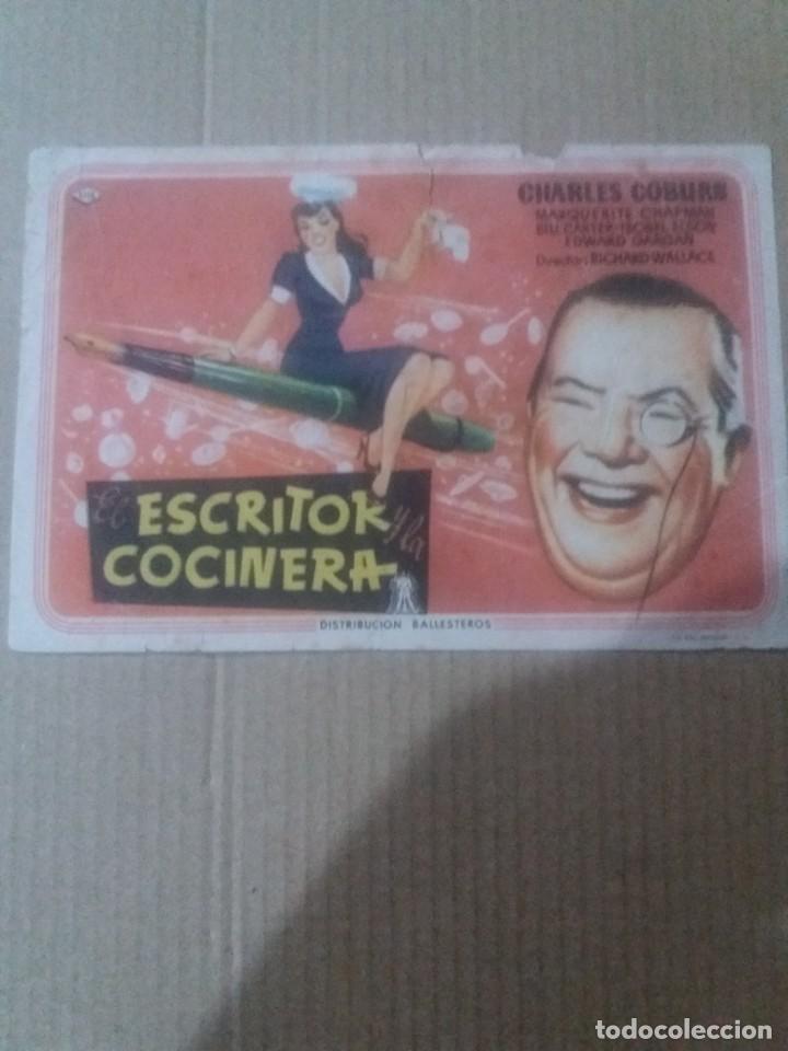 EL ESCRITOR Y LA COCINERA CON PUBLICIDAD SALON NOVEDADES (Cine - Folletos de Mano - Comedia)