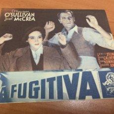 Cine: FOLLETO DE CINE ANTIGUO. LA FUGITIVA. P. DOBLE. ACCIÓN.. Lote 289813393