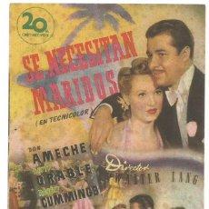 Cine: SE NECESITAN MARIDOS 1949 FIESTA DE ESTA VILLA CINE CULTURAL RECREATIVO E. D. STA COLOMA DE QUERALT. Lote 289827853