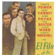 Cine: SENCILLO AL FILO DE LA NAVAJA 1949 CINE CULTURAL RECREATIVO DE E. D. STA COLOMA DE QUERALT. Lote 289834573
