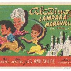 Cine: ALADINO Y LA LAMPARA MARAVILLOSA 1950 CINE CULTURAL RECREATIVO DE E. D. STA COLOMA DE QUERALT. Lote 289839683