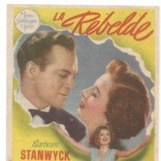 Cine: SENCILLO LA REBELDE 1949 CINE CULTURAL RECREATIVO DE E. D. STA COLOMA DE QUERALT. Lote 289840108
