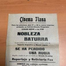 Cine: FOLLETO DE CINE ANTIGUO. NOBLEZA BATURRA. PROGRAMA LOCAL.. Lote 289847533