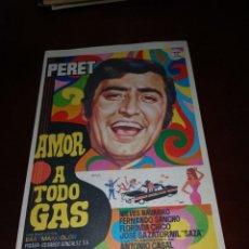 Cine: PROGRAMA DE MANO ORIG - AMOR A TODO GAS - SIN CINE IMPRESO AL DORSO. Lote 289911903