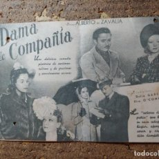 Cine: FOLLETO DE MANO DOBLE DE LA PELICULA DAMA DE COMPAÑIA. Lote 290005973