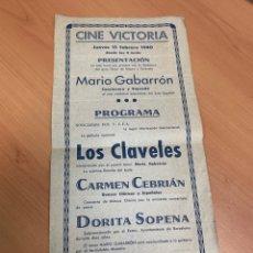 Cine: FOLLETO DE CINE ANTIGUO. LOS CLAVELES. CLÁSICO ESPAÑOL.. Lote 290010118