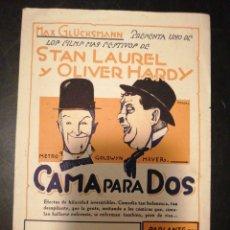 Cine: PROGRAMA CAMA PARA DOS, STAN LAUREL, OLIVER HARDY. Lote 290453498